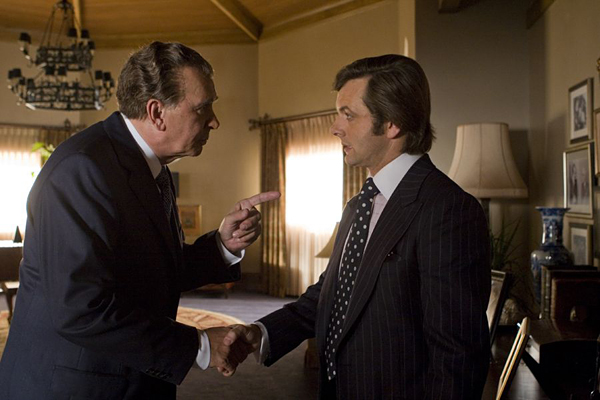 (L to R) Disgraced former president Richard Nixon (FRANK LANGELLA) faces off against jet-setting TV personality David Frost (MICHAEL SHEEN) in a new drama from Oscar®-winning director Ron Howard: Frost/Nixon.