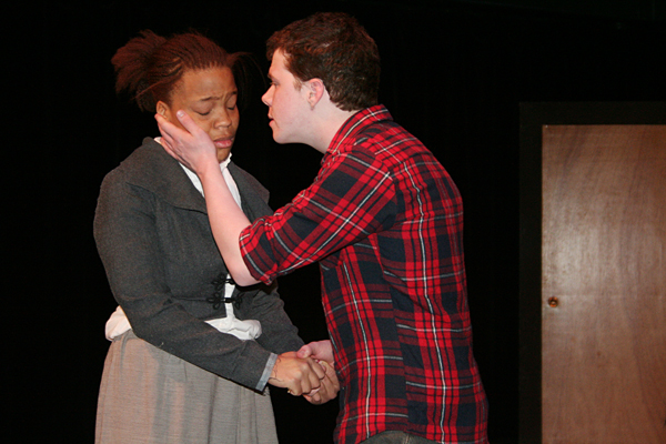 """Unique Bexley '10 (Willa) is embraced by Elliot Karl '12 (Andy) in a scene from """"Where the Seasons Sleep."""""""