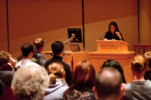 Natalie Bakopolous reads from her novel, The Green Shore, Thursday evening. Photo by Jacob Salzman.
