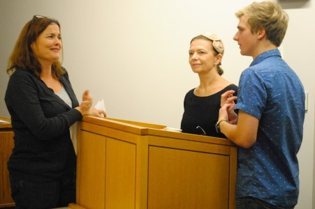 Kelly Herold, Associate Professor of Russian, jokes with Larrisa Rudova, Professor of Russian from Pomona College and her son, Misha Rindisbacher '15. Photo by Connie Lee.
