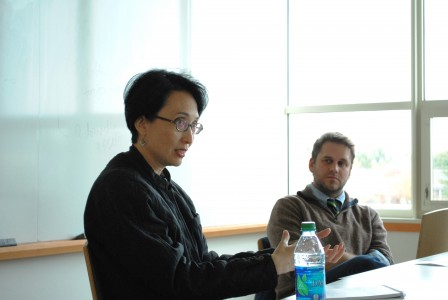 Alumni Scholar Guest Speaker May-Lee Chai '89 discusses the process of developing a dialogue during the Writers@Grinnell roundtable. Photo by Connie Lee.