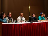 The Diversity Dialogue panel discussed issues of diversity in athletics Thursday night in JRC 101. Photo by John Brady