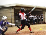 Lindsay Fujimoto '15 bats during Tuesday's games against Cornell.