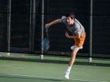 Emilio Gomez '15 hits the ball during practice. Photo by John Brady