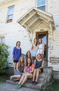 Carmen Nelsen '14, Cassidy White '14, Sarah Burnell '14, Amanda Nooter '14, Laurel Tuggle '13, Meg Rudy '14, and Elena Gartner '14 strike a family pose.