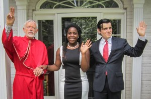 From left, The Cardinal, John Burghardt; The Duchess, Ebony Chuukwu; and Ferdinand, Jordan Friend, outside the Maryland home in which the production was set. Photo: contributed.
