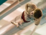 Daniel Goldstein '16 punches a ticket to the Nationals with a dive on Friday, Feb. 27. Photo by John Brady.