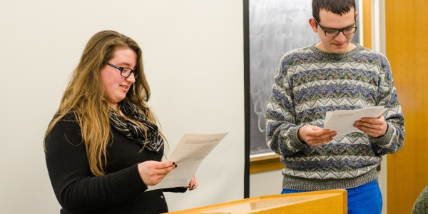 SPARC Vice-Chair Emily Hackman '16 and SPARC Chair Nathan Forman '15 take questions about the new SPARC constitution. Photo by Shadman Asif.