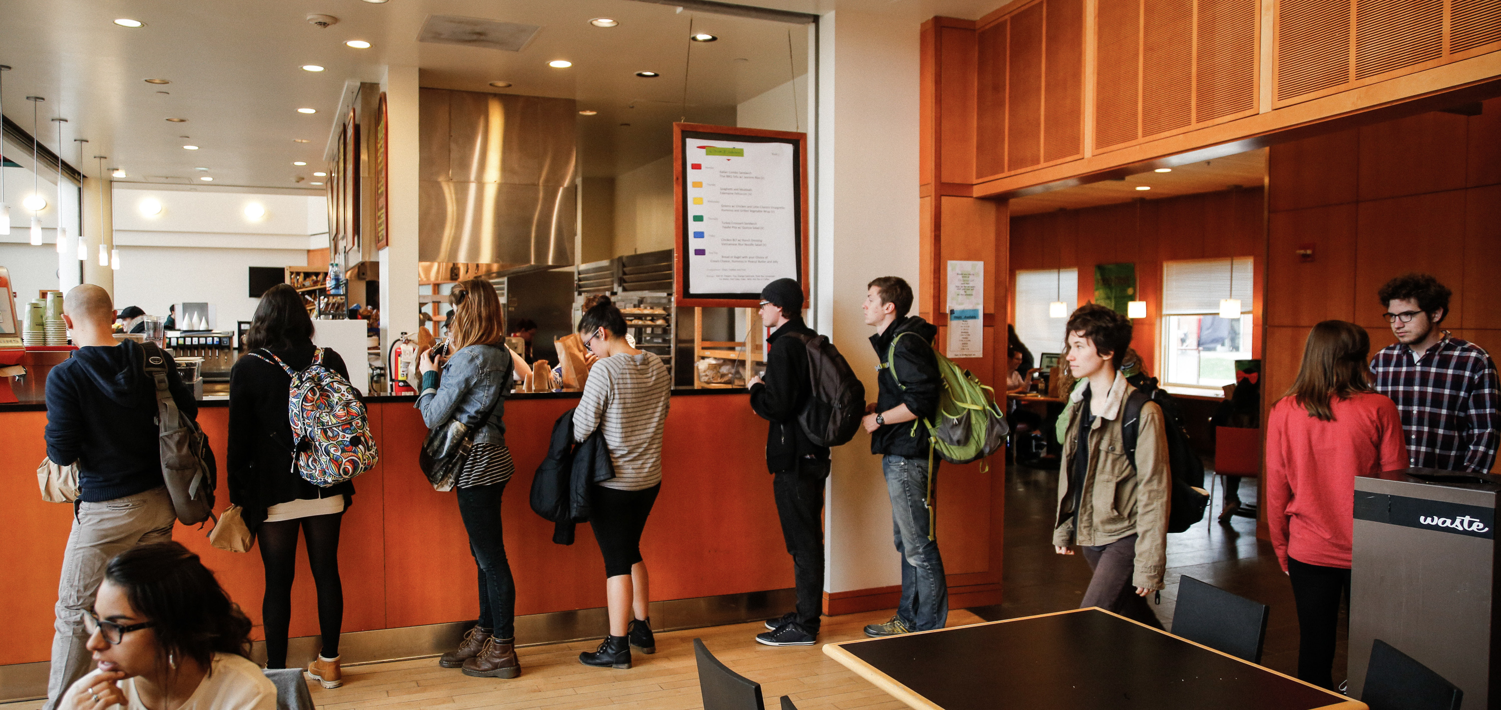 A long line of students forms at the Spencer Grill while waiting to get their Outtakes.  Photo by Frank Zhu.