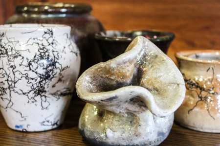 A few examples of raku pieces that participants of the annual Raku workshop can create. Photo by Sarah Ruiz.