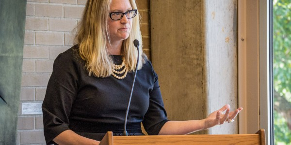 "Professor Astrid Henry, GWSS, reads from her new book ""Feminism Unfinished"" in Burling Library.  Photo by Jun Taek Lee."