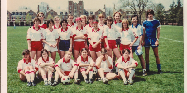 The 1982 women's soccer club team poses on Mac Field. Photo contributed.