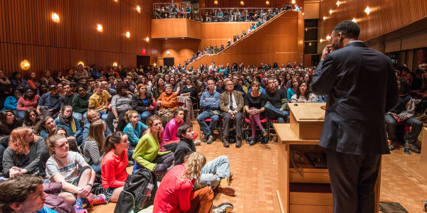 "JRC 101 maxed out with students for Ta-Nehisi Coates' speech on ""The Case for Reparations.""   Photo by John Brady"