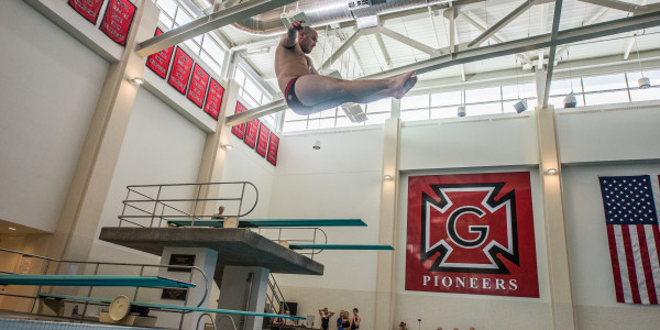Zane McHarris '17 finished third in the three meter and one meter diving contests.  Photo by John Brady