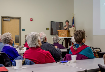 Local historians presented on notable women of Grinnell history in a at Drake Library. Photo by Matt Kartanata.