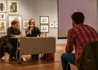 Visiting writer Dan O'Brien spoke about his creative process. Photo by Jeff Li