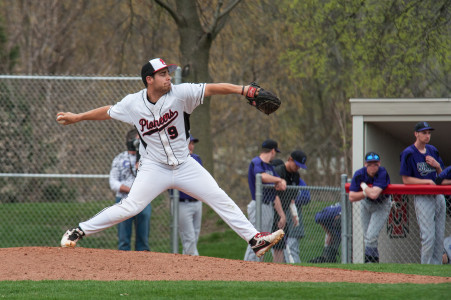 Ian Sales '15 has been one of the Pioneer's top pitchers this season. Photo by Chris Lee