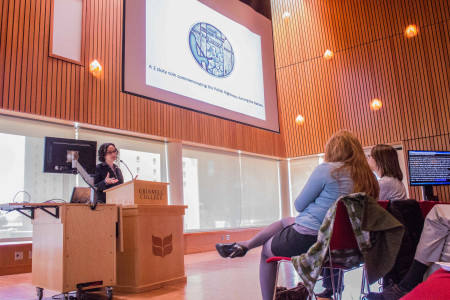Lehrer spoke about her research exploring  the resurrgence of Jewish culture in post-Holocaust Poland.  Photo by Rae Kuhlman.