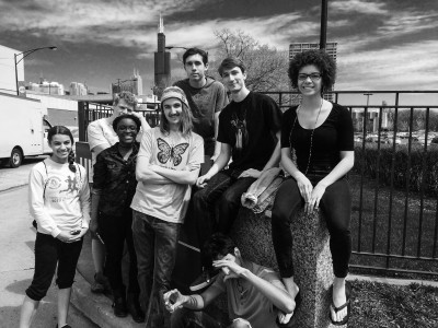 Members of RISE pose in Chicago at the Fight for 15 march. Back row (Left to right): Tristan Aschittino '18, Thomas Estabrook '17, Jacob Metz-Lerman '17, Brigid Carmichael '17. Front row: Taylor Burton '18, Cecilia Kwakye '17, Eli Shepherd '18, Dhruv Gupta '17. Photo contributed