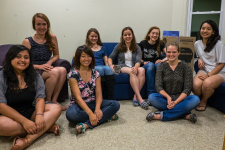 On couch from left: Monica Loza '18, Nele Loecher , Monica Knaack , Nina Galanter and Hannah Pham, all '17 On floor from left: Ysenia Ayala '18, Rebecca Wong '17 and Emily Adam '17 Photo by Takahiro Omura