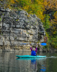 Annie Casey '17 kayaking on a GORP trip to Buffalo River, Ark.