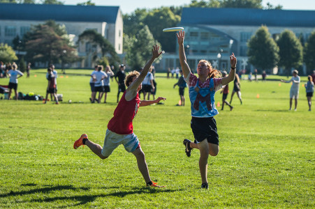 A member of our team, Team Mario (right), attempts to catch a Frisbee last weekend.   Photo by John Brady