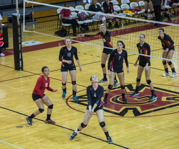 The Pioneers in acion against Simpson College last Tuesday, a match they lost 3-0.  Photo by Jeff Li