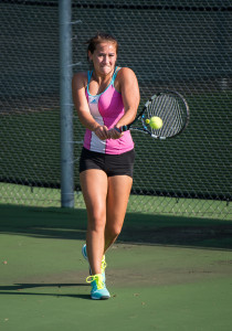 Ameila Cogan '19 won her first college doubles match Saturday.    Photo by John Brady