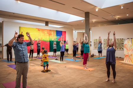 Monica St. Angelo (far right) leading the yoga sessions at Faulconer Gallery. (Photo by Minh Tran)