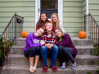 Clockwise from top left: Jennifer Joy '16, Lana Saab '16, Madeline Warnick '17, Zach Davis '16 and Sydney McClendon '16 doing what they do best: cuddling. (Photo by Minh Tran)