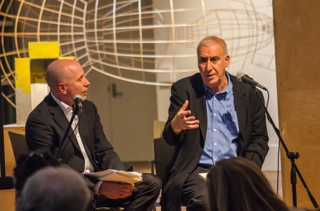 Ralph Savarese and Edward Hirsch engaged in a discussion for the audience about Hirsch's latest work. Photo by Jeff Li.
