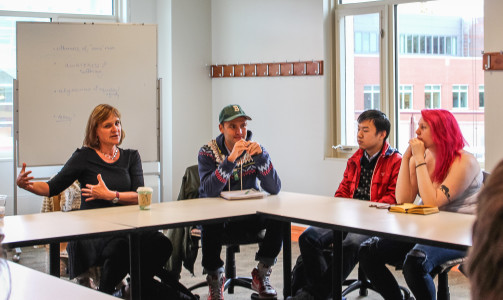 Nelson spoke with students regarding her process and about the innovative way that she teaches fiction writing workshops. Photo by Jae Eun Oh