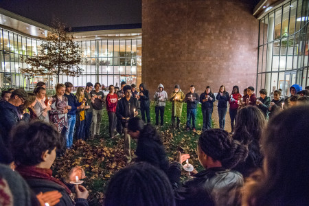 Students gathered for a silent vigil to commemorate recent attacks on Paris, Beirut and Baghdad. Photo by Jun Taek Lee