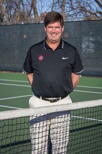 Andy Hamilton '85 coaches men's and women's tennis.    Photo by Sarah Ruiz