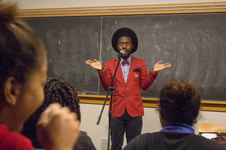 Matam writes and performs poetry and works with youth to encourage creativity.  Photo by Sofi Mendez
