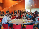Students and faculty mingle, eat and discuss how to produce a more balanced Grinnell experience. Photo by Sofi Mendez.