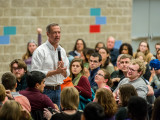 Gov. Martin O'Malley speaks to students and community members in Harris on Wednesday. Photo by John Brady