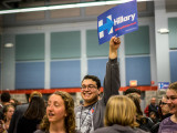 Caucus attendees sort themselves into preference groups at the 1st Ward Precinct. Photo by Jun Taek Lee