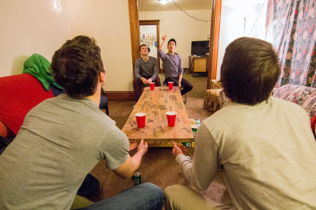 Unlike most drinking games, in beer die drinking and scoring are unrelated.  Photo by Misha Gelnarova