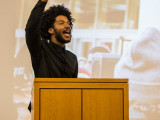 "Damon Williams '14 led a series of events entitled ""Bigger than the Cops: Racialized State Violence and the Movement for Black Lives"". Photo by Jeff Li."