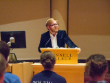 """Brorby discusses fracking in literature by introducing his anthology """"Fracture: Essays, Poems, and stories on Fracking in America."""" Photo by Sofi Mendez"""