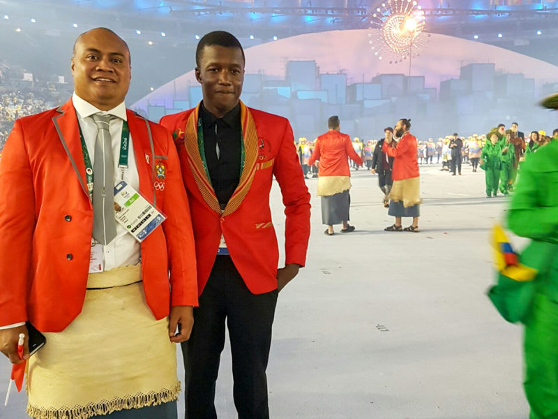 Tibatemwa carried the flag for his home country, Uganda ,during the Opening Ceremony at the Rio Olympics.  Photo contributed.