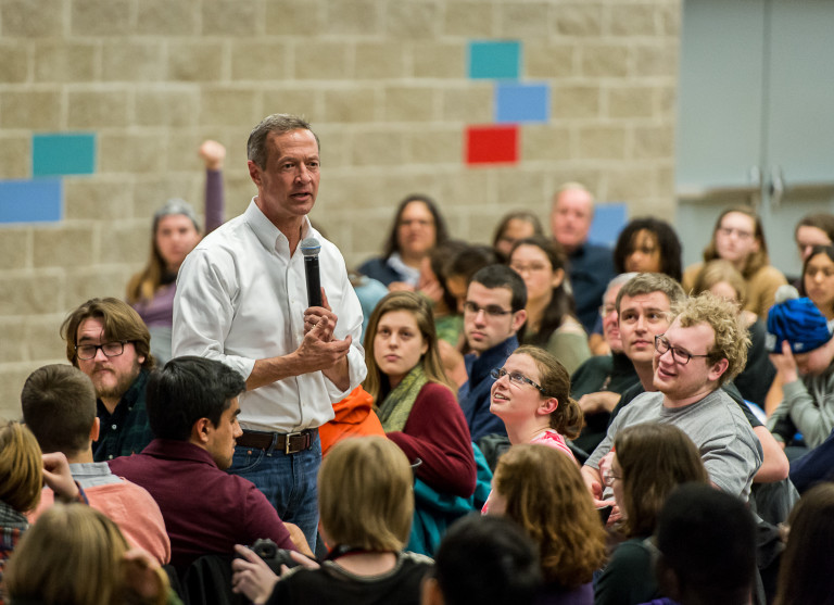 Martin O'Malley previously visited Grinnell in January 2016. Photo by John Brady.