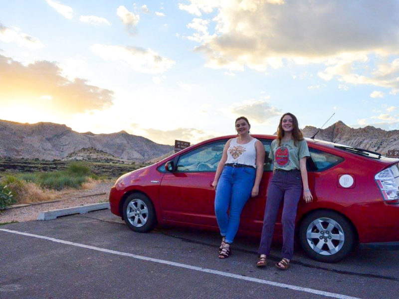 Sarah Cannon '19 and Leah Harris '19, after their road trip from Grinnell to Los Angeles this summer. They made many stops along the way, including Rocky Mouihtain National Park and the Grand Canyon.