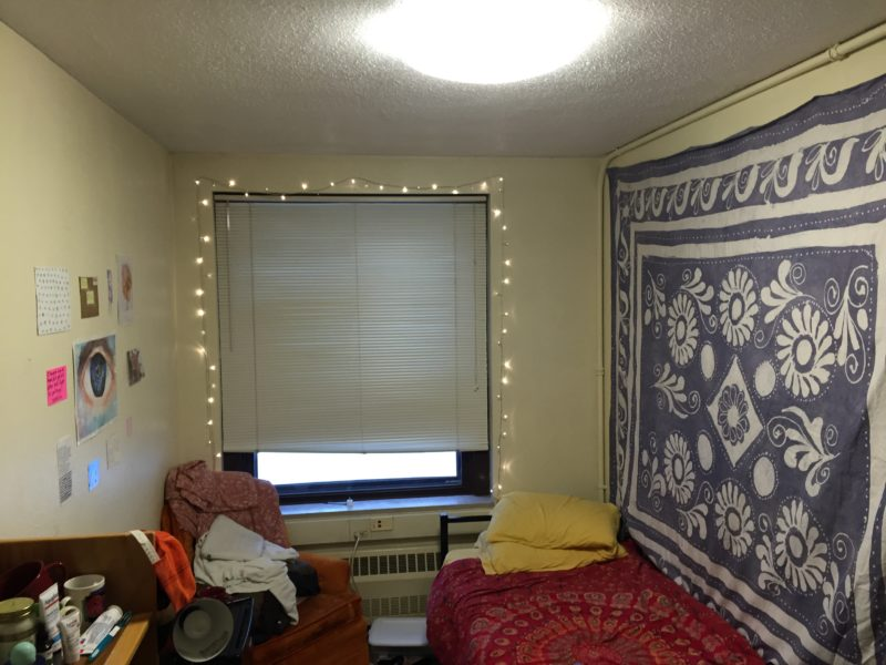 Contributed. Nora Coghlan '17 made the most out of a small single, using tapestries, lights and wall decorations.