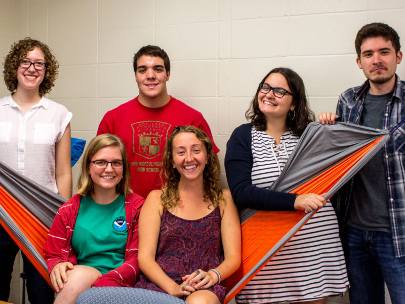 Photo by Sarah Ruiz. The Physics SEPC consists of Rachel Bass '19, Peter Cipriano '19, Androniki Mitrou '17, Higinio Jasso '17, Allison Bartz '18 and Sarah McCarthy '19. SEPC members are now required to go through implicit bias training.