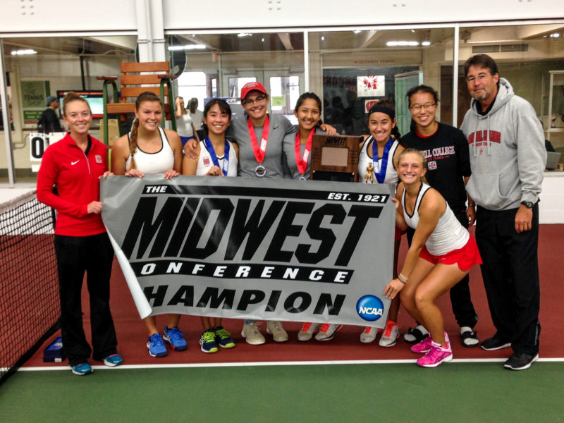 The 2016-17 women's tennis team celebrate their conference victory. Photo contributed.