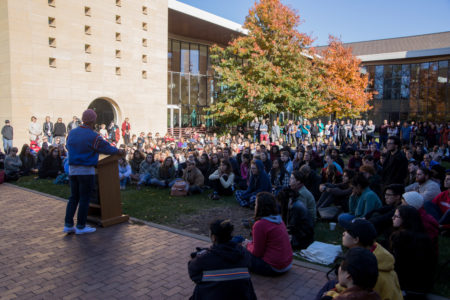 Students, faculty and staff came together in the JRC courtyard on Wednesday afternoon to support one another and share their grief, concerns and hope. Photo by Jeff Li.