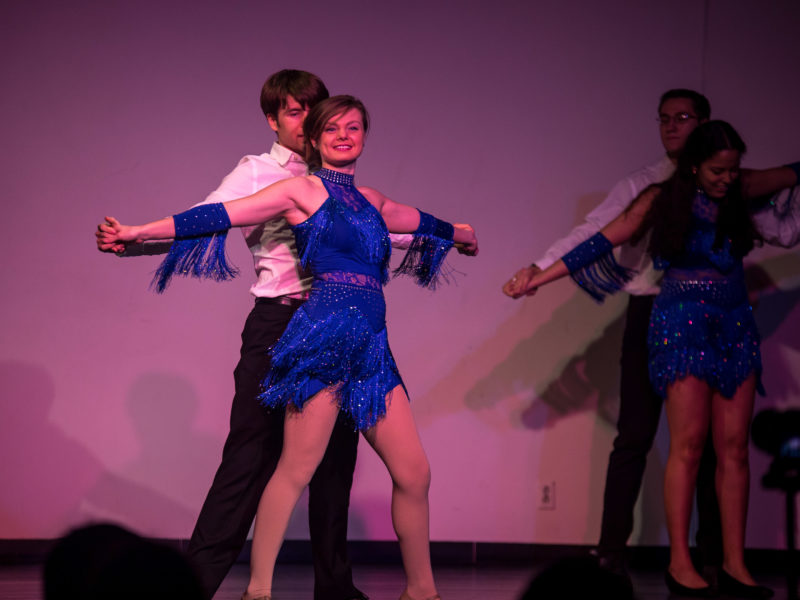 Lizzy Eason '17 salsa danced in Grinnellians Got Talent this past weekend. Photo by Takahiro Omura.