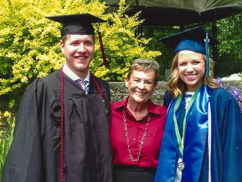 Judith Darrh '62 poses with grandson Tyler Anderson '16 for his graduation last year. Contributed photo.